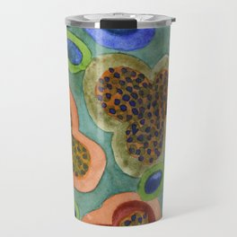 Summerly Blossoms and Olives Pattern Travel Mug