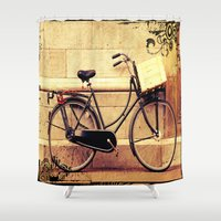 bicycle Shower Curtains featuring Bicycle by Indigo Rayz