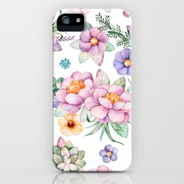 Pastel pink lavender green watercolor hand painted floral iPhone Case