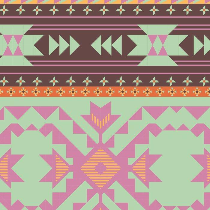 Aztecs seamless pattern in violet colors Leggings