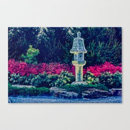 Oriental Garden with Birdhouse Statue Canvas Print