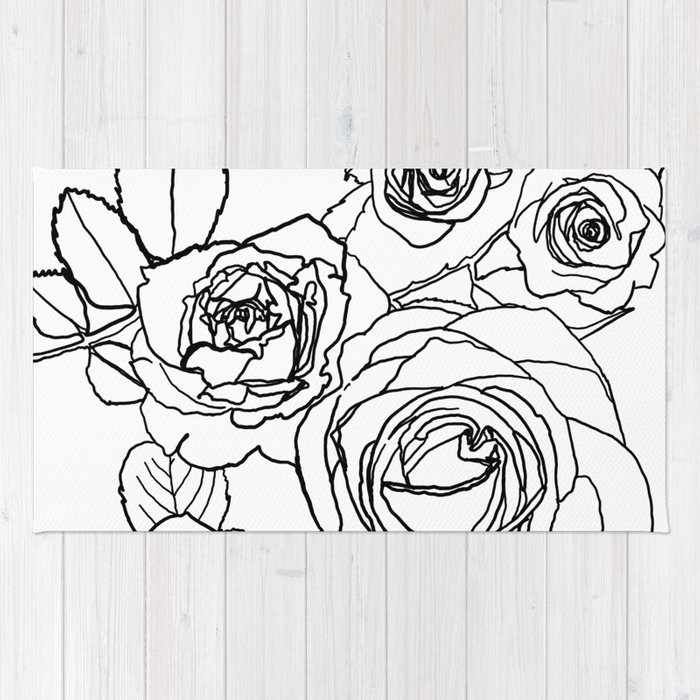 Feminine and Romantic Rose Pattern Line Work Illustration Rug by ... 5e527f6f8636f