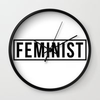 feminist Wall Clocks featuring Feminist by aesthetically