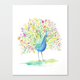 Peacock Floral Canvas Print
