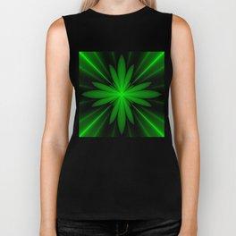 Neon Green Flower Fractal Biker Tank
