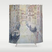 venice Shower Curtains featuring Venice by Hollyce Jeffriess Designs