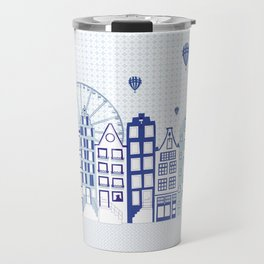 Dutch canal houses from Amsterdam in delft blue Travel Mug