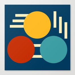 Three circles and lines Canvas Print