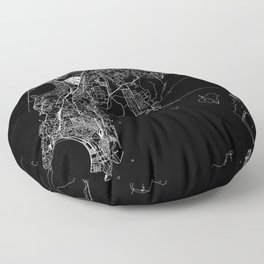 Mumbai Black Map Floor Pillow