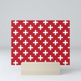 Crosses | Criss Cross | Plus Sign | Hygge | Scandi | Red and White | Mini Art Print