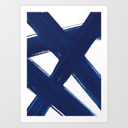Indigo Abstract Brush Strokes   No. 3 Art Print