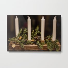 Candles and pine leaves Metal Print