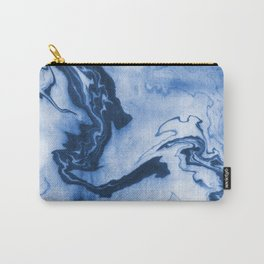 Chiharu - spilled ink marble paper marbling texture swirl indigo water ocean nature pool wave tide Carry-All Pouch