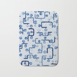 Blue Watercolour Zig Zag Bath Mat
