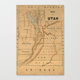 Map of Utah 1871 Canvas Print