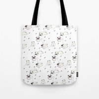 pugs Tote Bags featuring Pugs by Alisse Ferrari