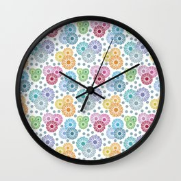 Colorful Floral Graphic Design Wall Clock