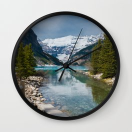 Frozen Lake with Snowcapped Mountains (Canada) Wall Clock