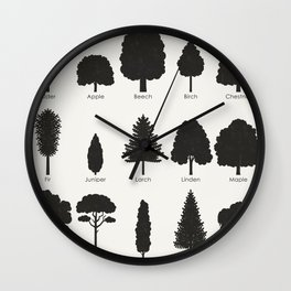 Infographic Guide for Tree Species by Shapes or Silhouette Wall Clock