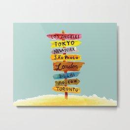 Where Should We Go - Wanderlust Watercolor Metal Print