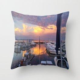 Port Stephens Marina Sunset Throw Pillow