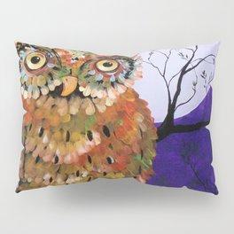 Owl, Owl Painting, Moon, Night Sky, Purple, by Faye Pillow Sham