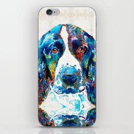 Colorful English Springer Spaniel Dog by Sharon Cummings iPhone Skin