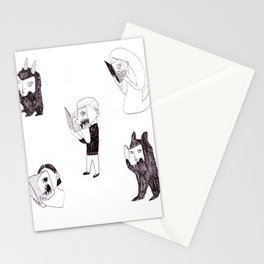 horror readers & fluffy monsters Stationery Cards