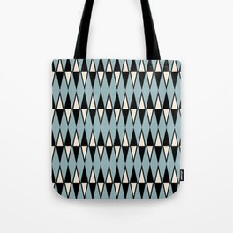 Mid Century Modern Diamond Pattern Black and Blue 233 Tote Bag