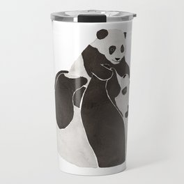 Mother and baby panda playing Travel Mug