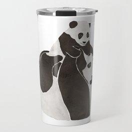 Mother and baby panda playing Travel Mug
