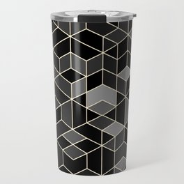 Black geometry / hexagon pattern Travel Mug