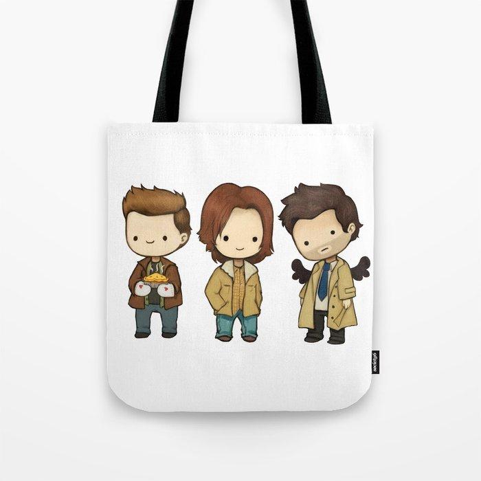 Chibi Dean Sam Castiel Supernatural Tote Bag By Kamfox Society6
