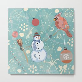 Seamless Winter Pattern with Christmas Ornaments Metal Print