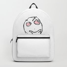 Troll face smoker pink eyes pensive Backpack