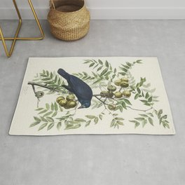 American Crow from Birds of America (1827) by John James Audubon etched by William Home Lizars Rug