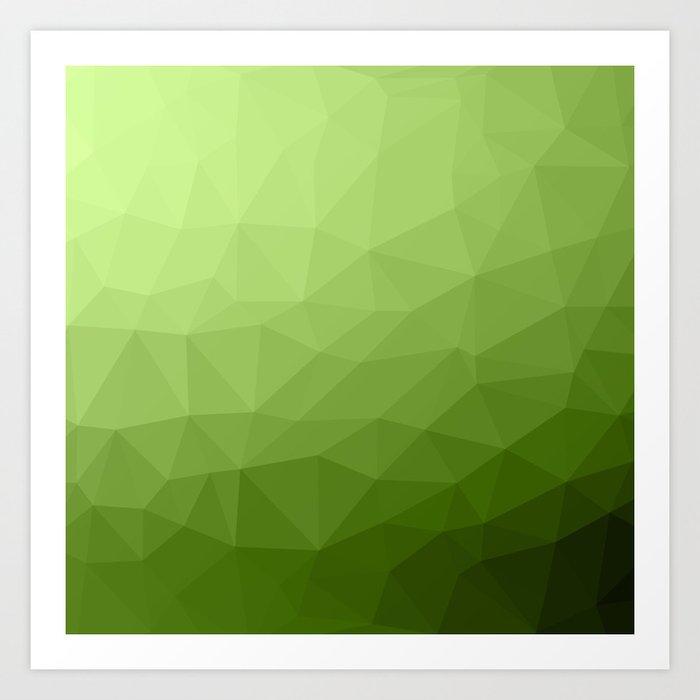 Greenery ombre gradient geometric mesh pattern Kunstdrucke