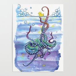 Bath Time Octopus Poster