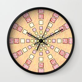 Ethnic wheel in pink Wall Clock