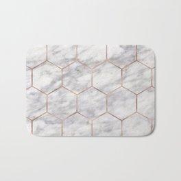 Marble rose gold hexagons Bath Mat