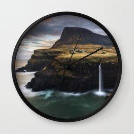 Gasadalur sunset Wall Clock