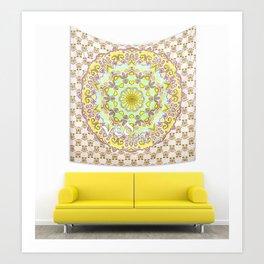 Bohemian Bedding Yellow Purple Mandala Throw Tapestry Art Print