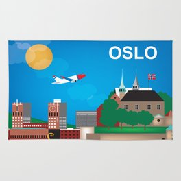 Oslo, Norway - Skyline Illustration by Loose Petals Rug