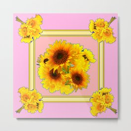 YELLOW SUNFLOWER BOUQUETS ON PINK Metal Print