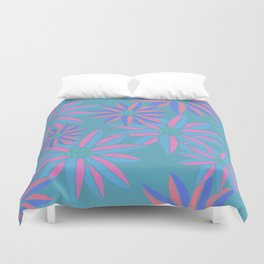 Blue and Pink Small Bright Flowers Digital Pattern Duvet Cover