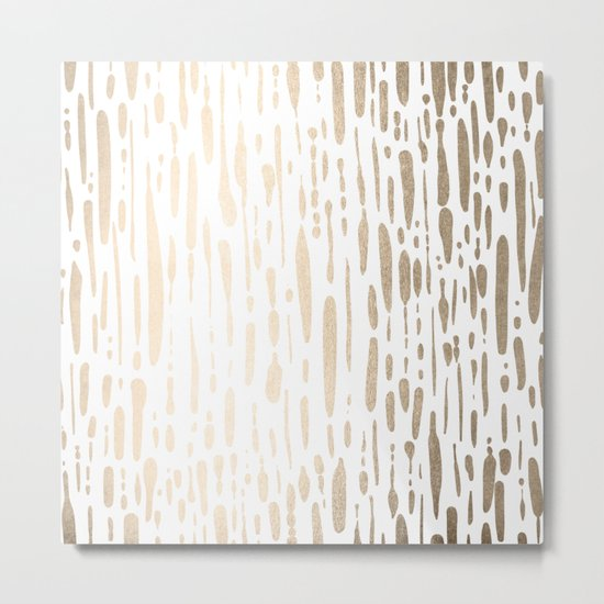 White Gold Sands Modern Vertical Dotted Lines Metal Print