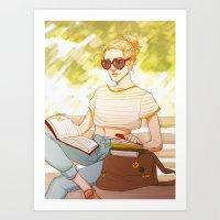 enjolras Art Prints featuring Summer Enjolras by batcii