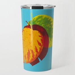 Falling leaves on blue Travel Mug
