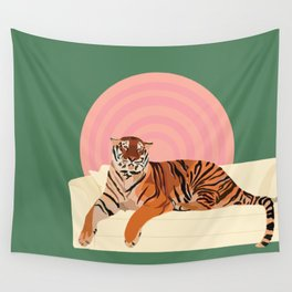 Tiger on a Couch Wall Tapestry