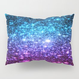 Glitter Galaxy Stars : Turquoise Blue Purple Hot Pink Ombre Pillow Sham